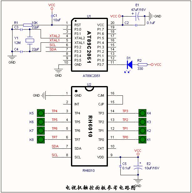 2、RH6010 消毒柜触控面板应用 >方案介绍 1. 本方案通过采用PIC12C508主控芯片与RH6010通信,配置和读取RH6010的4个触摸状态,驱动2个控制信号输出,以及3个LED的状态显示。 2. 四个触摸按键,分别为 十分钟定时触摸按键,驱动一个单独的输出脚动作,工作十分钟后停止输出; 3小时定时触摸按键:驱动一个复用的输出脚动作,工作3小时后停止输出; 6小时定时触摸按键:驱动一个复用的输出脚动作,工作6小时后停止输出; 复位触摸按键:按复位键时,所有功能全部取消。 3.